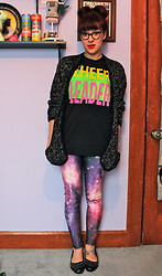 Amber M - Galaxy Leggings, Cheer Leader Tank - Never left the house