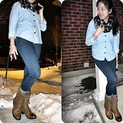 Khiara Albaran - Garage Pants, Aldo Combat Boots, Danier Scarf - You got the denim feeling