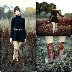 Kiana Mc - American Apparel Turtleneck, Vintage Boots, American Apparel Circle Skirt - Adventure