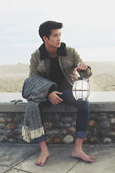 Peter Adrian - Hanes Black Hoodie, Pacsun Denim Jacket With Black Collar, Forever 21 Skinny Pants - Light my path