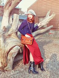 Cindy Ashes - Zara Red Wine Long Skirt, Chic Wish Royal Blue Sweater - ! HUNTING LADY ROUGE !