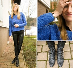 Katarina Vidd - H&M Sweater, Topshop Leather Pants, Boohoo Studded Ankle Boots, H&M Golden Cuffs - This kiss...