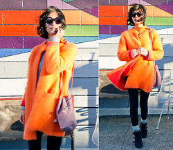 Sun J. - Baggu Suede Drawstring Bag, Lewitt Angora Wool Cardigan Coat, Dries Van Noten Round Frame Sunglasses - Orange Sorbet