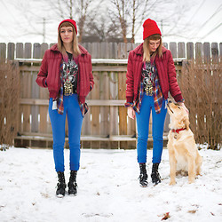 COURTNEY B - American Apparel Red Beanie, Salvation Army Coat, Vintage Necklace, C/O Aritzia Blue Skinnies, Lost & Found Vintage Boots, The Golden Retriever Buzz - Dennis the Menace