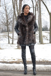 Gail C - Vintage Fox Fur Vest, Topshop Leather Coat - Another Day Another Fox Fur!