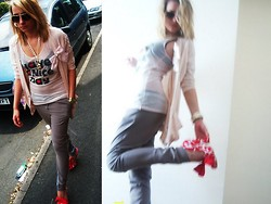 Krista NotSerious - Topshop Cardigan, Topshop Top, Topshop Pants, Irregular Choice Shoes - Have a nice day