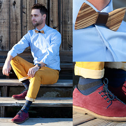 Kris M - Two Guys Bowties Wooden Bowtie, Aldo Red Suede Shoes, Aldo Stripped Socks, Rue 21 Mustard Pants, Calvin Klein Baby Blue Dress Shirt, Fossil Stainless Steel Watch - Morning Wood