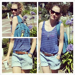Hayley (FashionAndMe) - Kathmandu Backpack, H&M Knit Vest, Levi's® Denim Shorts, Ollie And Nic Star Pendant, Toms Kitty Shades - The Lost (and found) Girl
