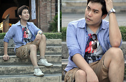 Vergil Lloyd Chua - Rolex Time Keeper, Forever 21 Aviator, Energie Button Down, Antony Morato Gray Graphic Shirt, Energie Borwn Shorts, Sm Accessories Brown Striped Socks, Topman Shoes - Swath