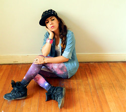 Lessie S - Romwe Starry Night Leggings, Romwe All Spikes Cap - Rebel+GIVEAWAY