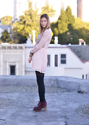 Amanda H. - Urban Outfitters Long Sleeve Dress, Michael Kors Lace Up Booties - Blush Tones