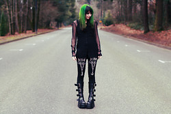 Jenna G - Actual Pain Pentagram Leggings, H&M Black Top, Hot Topic Mesh Top, Ebay Buckle Boots - Layer 11: Infornography