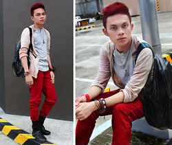 Jomie Hospital - Penshoppe Light Brown Cardigan, Penshoppe Sweat Shirt, Oxygen Red Denim Jeans - Another Cog In The Murder Machine