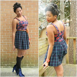 Lauren Williams - American Apparel Plaid Skirt, Urban Outfitters Velvet Shoes - Share Your World and I'll Share Mine