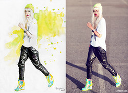Micah Gianneli - R. By Micah Gianneli Leather Boyfriend Pants, Jeremy Scott Wedge Hi Tops, Jeremy Scott Trefoil Tee - Double Take