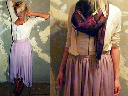 Krista NotSerious - Lola Skirt, Topshop Cardigan, Divided Top, India Scarf - In A Delicate State