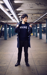 Jeff Me - Guess? Wool Coat, Lookbook.Nu Hype Shirt, Gap Lived In Slim Khakis, Dr. Martens Brogue Shoes - If you like it, HYPE it