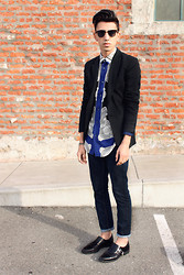 J. Sandoval Gomez - Zara Baroque Print Shirt, Zara Black Jersey Blazer, Topman Dark Wash Denim, Zara Black Monk Strap Shoes, Ray Ban Wayfarers - Baroque; 02072013