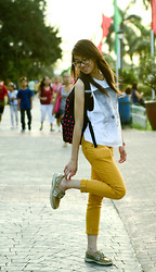 Kathleen De Guzman - Thrift Shop Boy Cut Sando, Thrift Shop Mustard Pants, Sperry Topsider, Outdoor Backpack - Carefree