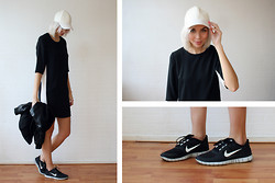 Sietske L - H&M Leather Cap, H&M Dress, Nike Trainers - Black and white