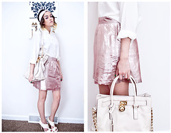 Angelena V - Uo Polka Dot Turband, Liliana Open Toe Silver Studded Heels, Thrifted Pearl Embroidered Blouse, A.P.C. Metallic Skirt, Michael Kors Off White Leather Bag - All Dressed Up With Nowhere to Go...