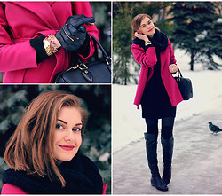 Anastasia K. - Hands A Porte Coat, Asos Snood, Vila Knit Dress, Gaude Bag, Paolo Conte Boots, Cara Bracelet, Mango Gloves - In waiting for the spring.