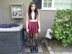 Amanda S. - American Apparel Crop Turtleneck, American Apparel Tennis Skirt, Dr. Martens Aggy Strap Docs - MudHoney