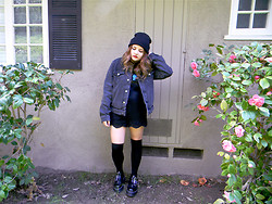 Allysa Stone - Amanda's Diy Black Beanie, American Apparel Black Denim Jacket, Black Lace Shorts, Dr. Martens Aggy Straps - Just got to be