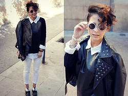 Milagros Plaza - Forever 21 Studded Jacket, Sheinside Leather Top, H&M Denim Shirt, H&M White Pants, Asos Creepers - As simple as that