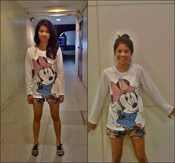 Loreen Alyana Macasu - Minnie Mouse Sweater, Random Printed Shorts, Aztec Brogue Shoes - MINNIE MOUSE