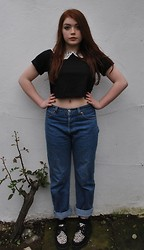 Ellie C - Beyond Retro Lace Detail Crop Top, Levi's® Levi Jeans, Underground Creepers - Billion Dollar Babies