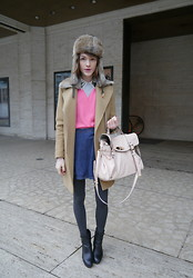 Ella Catliff - Chinti And Parker Heart Sweater, Sandro Camel Coat, Zara Shirt, Maje Fur Hat, Mulberry Bag, Massimo Dutti Boots - New York Fashion Week AW13: Day 1