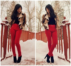 Cindy H - Ryu Shearling Jacket, Silence + Noise High Waisted Pants - Snow Day