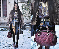 Elizabeth Jin - Vintage Royal Print Jacket, Asos High Shine Shirt, Asos High Shine Midi Skirt, Jeffrey Campbell Gibson Heels, Moschino Gold Letter Belt, Dolce & Gabbana Lily Quilted Bag - High Shine