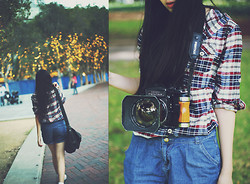 Amanda Mabel - Satchel, Plaid Shirt, Pentax Asahi Film Camera, Denim Shorts - Plaid, denim and a film camera
