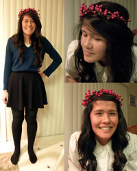 Renee Schmee - H&M Green Sweater, Cotton On Black Skirt, Diy Berry Crown, Black Over The Knee Socks, Black Tights - Lady of the Coagulum Ft. Berry Crown