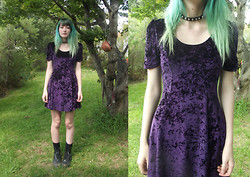 Freya C - $1 Purple Velvet Dress, Paddys Markets Spiked Choker, New Rock Boots - UGH