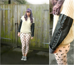 Hannah Victoriaa - The Ragged Priest Leather Sleeve Knit, Zara Owl Print Trousers, Converse - Twit Twoo-Leather, Spikes and Owls