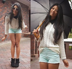 Rhea Hsu - Aldo Sunglasses, Mark & Spencers Heeled Ankle Boots, Black Blouse, White Sweater, Hot Mint Shorts, Fossil Watch, Umbrella - Rainy Days