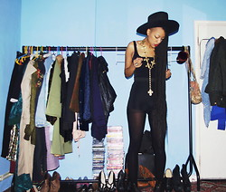 Zizzi's Wardrobe - Beyond Retro Hat, Forever 21 Shorts, From Friend Top, From A Friend Belt Worn As Necklance, Dr. Martens Docs - Black and Gold, Black and Gold, Black and Gold...