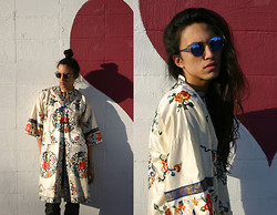 Nathan S - Vintage 1940's Hand Embroidered Silk Robe, Vintage 1960's Sunglasses - Weird Friendless Kid