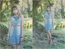 "Kai Grafia - Wholesale Dress Denim Dress, Isotopes Manila Lace Necklace, Enzo Shoppe By Sheryl Chan Brown Boots - Ooops, I ""DENIM"" again"