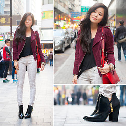 Nicole T - 7 For All Mankind Snakeskin, Mango Suede Jacket, Zara Booties - Suede and snakeskin in hong kong