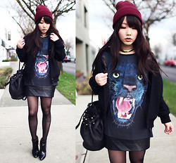 Ivy Xu - American Apparel Beanie, American Apparel Jacket, Forever 21 Panther Shirt, Alexander Wang Bag, Zara Boots - Black panther