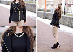 Samm ASCF - Zalando Coat, New Look Peplum Top, Zara Pants, Sam Edelman Shoes, New Look Necklace - Black peplum coat