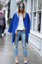 THEFASHIONGUITAR - - Ray Ban Sunglasses, H&M Coat, Zara Jeans, Sandro Jumper, Céline Heels - WIN A PAIR OF MIRRORED RAY-BAN'S