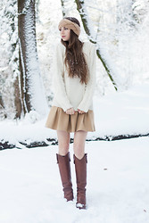 Anastasia Shev - H&M Headband, Claudie Pierlot Sweater, Zara Skirt, Dolce & Gabbana Boots - WINTER WONDERLAND