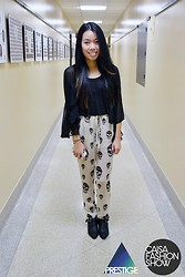 Hilary E - Tobi Skull Pants, Thrifted Buckle Booties, Lf Sheer Black Top - DISCLOSURE
