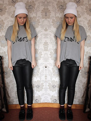 Belinda C - Ebay Beanie, Illustrated People Chaos Tshirt, River Island Leather Jeggings, New Look Creepers, New Look Socks - Chaos in Leather