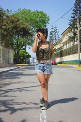 Ana Iherina - Glasses, Bustier, Studded Shorts, Ear Cuff - Man
